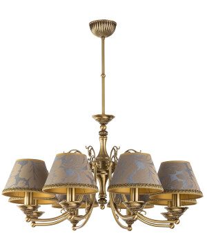 Patina Brass Luxury Chandelier 8 Arms Casamia Fabric Shade Pendant Light