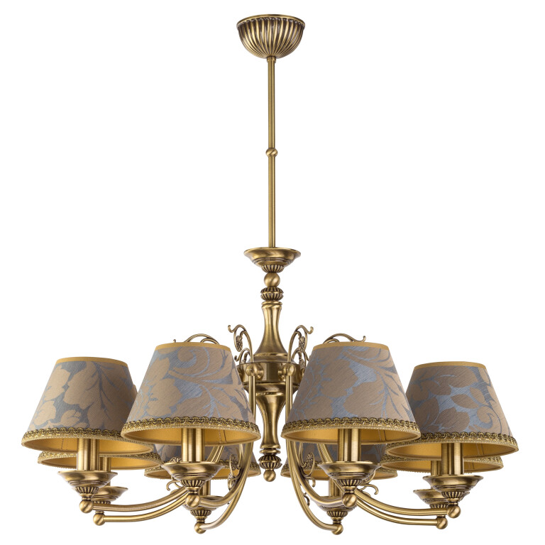 Patina Brass Luxury Chandelier 8 Arms Casamia Fabric Shade Pendant Light