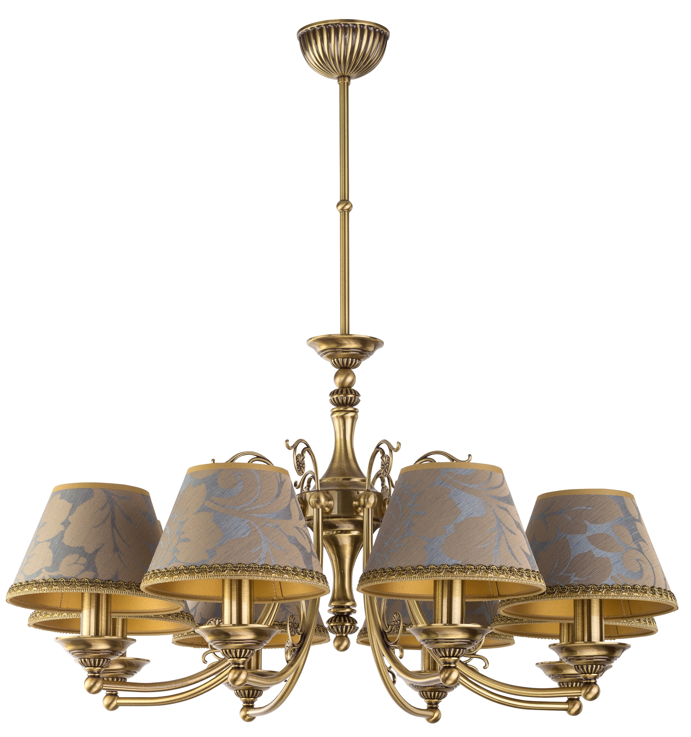 Casamia 8 Arm Brass Chandelier With Fabric Shades Luxury Chandelier