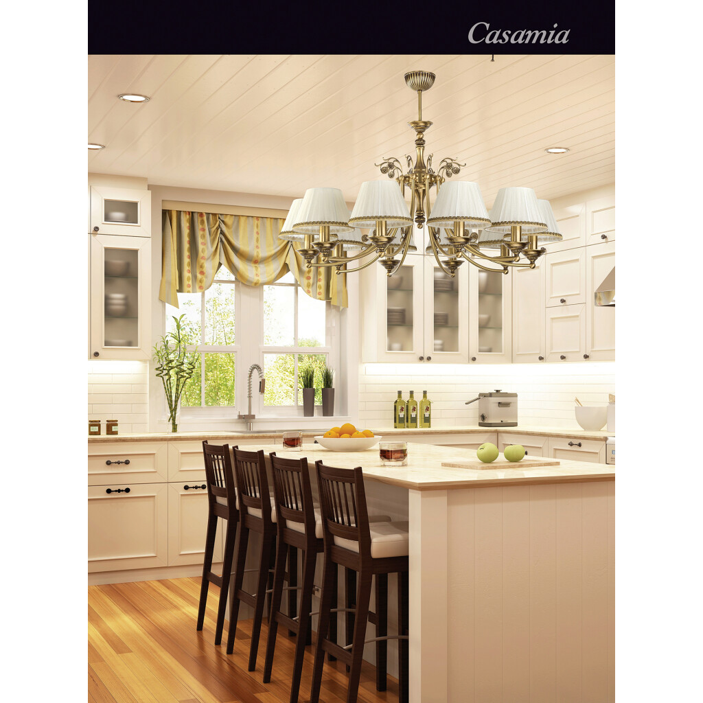 Classic Luxury Chandelier 10 Arms Casamia with fabric shades Casamia Fabric Shade Kitchen Island Pendant Light Inspiration