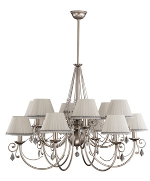 Brass Luxury Chandelier 12 Arms COCO Fabric Shade with Swarovski Crystals Pendant Light