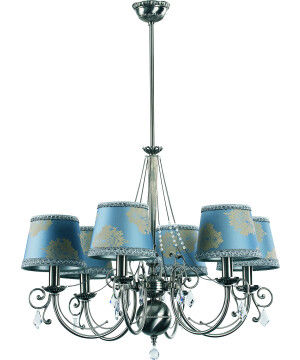 Brass Luxury Chandelier 6 Arms COCO Fabric Shade with Swarovski Crystals Pendant Light