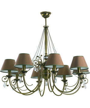 Brass Luxury Chandelier 8 Arms COCO Fabric Shade with Swarovski Crystals Pendant Lights
