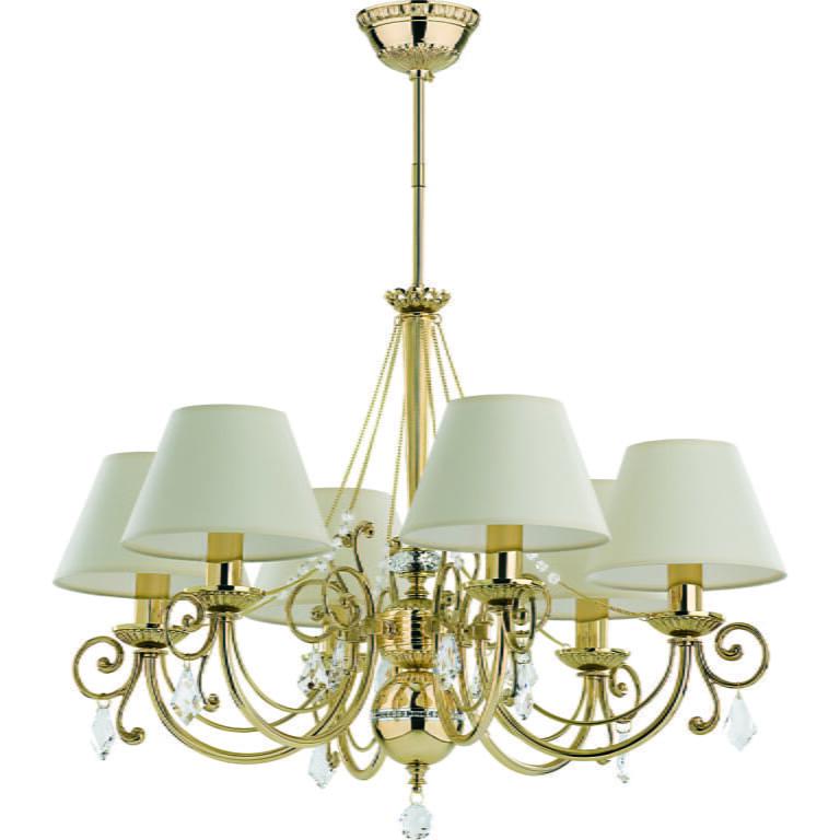 Bespoke lighting COCO 6 light gold chandelier with white shades I Swarovski Crystals