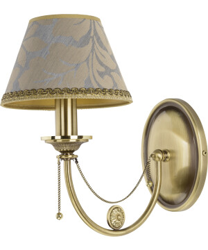 Brass wall light DORATO in brushed brass with patterned gold shade
