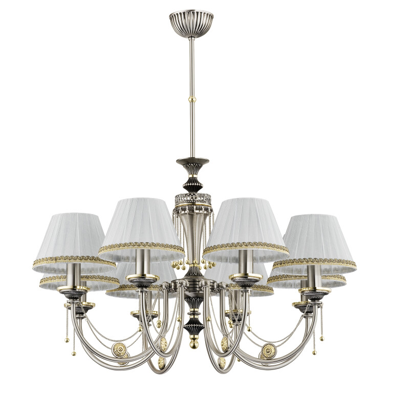 Brass chandelier 8 light DORA in nickel handmade with white patterned shades