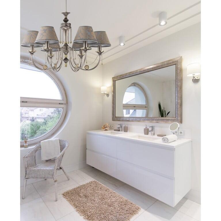 chandelier for bathroom DORATO in nickel 6 light
