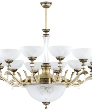 Gold Farini Large Luxury Chandelier 12 Arms Swarovski Crystals Glass Shades