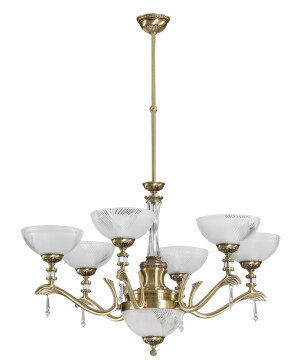 Farini Brass Luxuruy Chandelier 6 Arms Swarovski Crystals with Glass Shades Pendant Light
