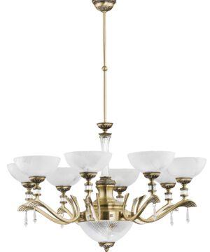 Brass Gold Farini Large Chandelier 8 Arms Swarovski Crystals Glass 8 Shades Pendant Light