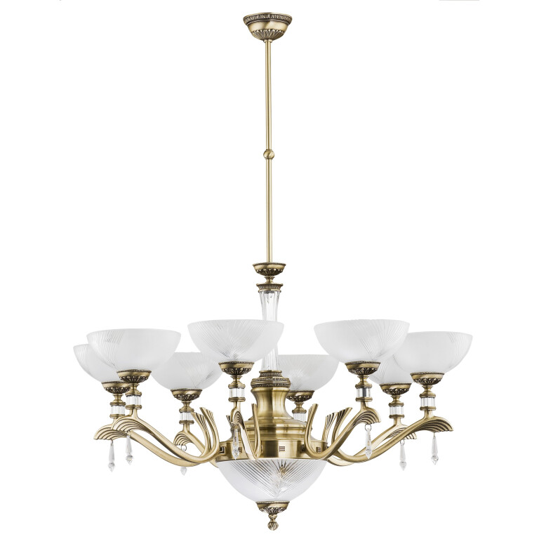 Brass Gold Farini Large Chandelier 8 Arms Swarovski Crystals Glass 8 Shades Pendant Light
