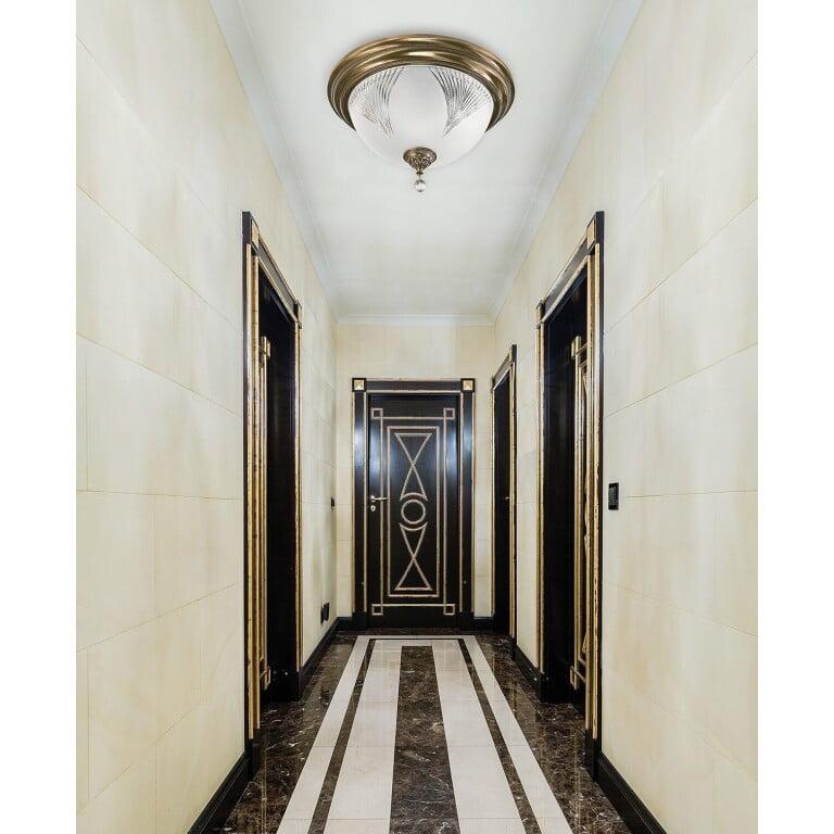 hallway ceiling light FARINI with glass shade and Swarovski crystal