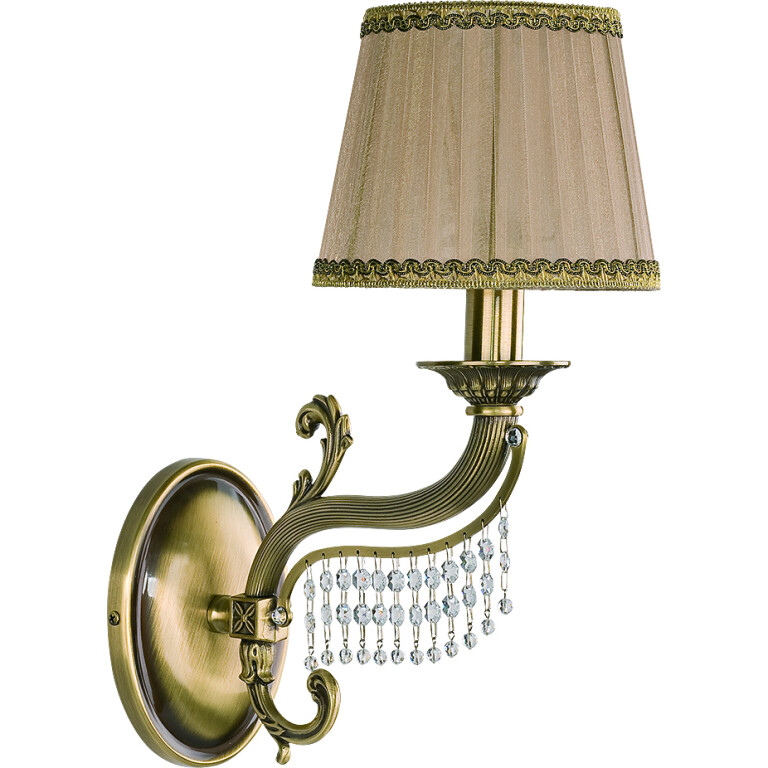 Fontana Brass Sculpture Wall Light Swarovski Crystals Wall Sconce Light Fabric Shade