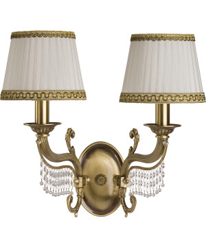 Fontana Brass Sculpture Double Wall Light Swarovski Crystals Fabric Shade Wall Sconce Light