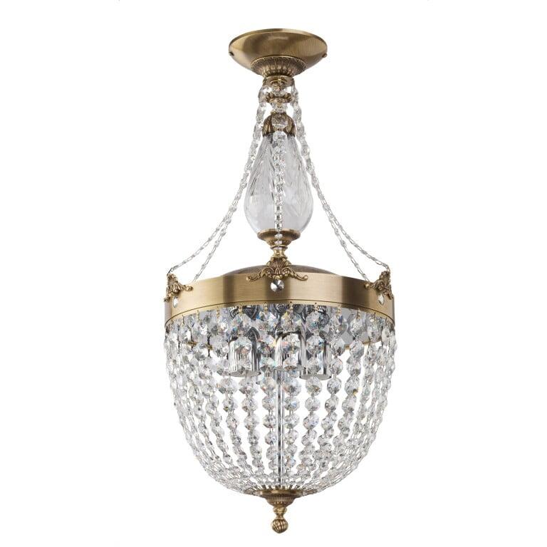 Fontana Brass Sculpture Semi Flush Ceiling Light with Glass Pendant 4 Light Swarovski Crystals