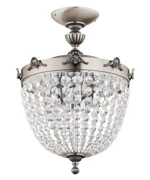 Fontana Brass Luxury Semi Flush Mount Ceiling Fitting 4 Light Swarovski Crystals