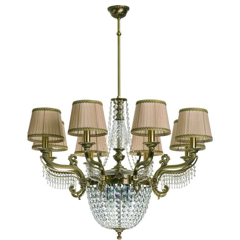 Fontana Large Brass Luxury Chandelier 8 Arms Swarovski Crystals Double Tier Chandelier Fabric Shade