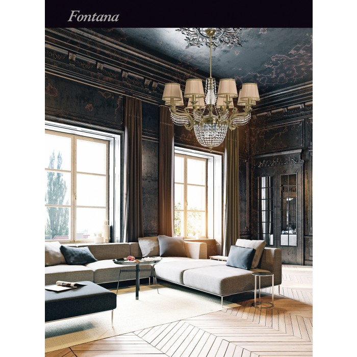 Fontana Large Brass Luxury Chandelier 8 Arms Swarovski Crystals Double Tier Chandelier Fabric Shade Inspiration
