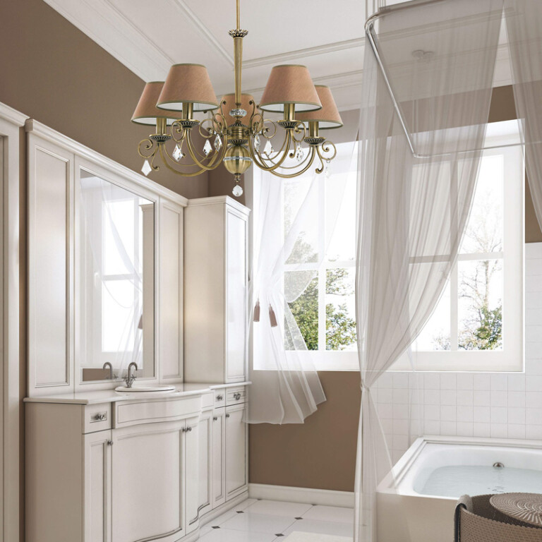 Bathroom ideas with brass chandelier COCO 5 light with SWAROVSKI Crystals