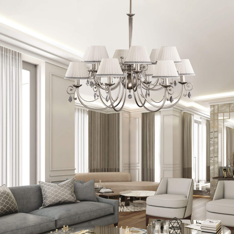 living room idea with two tiered chandelier COCO