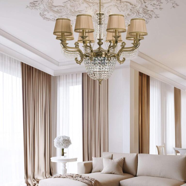 living room ideas with crystal chandelier FONTANA 12 lights