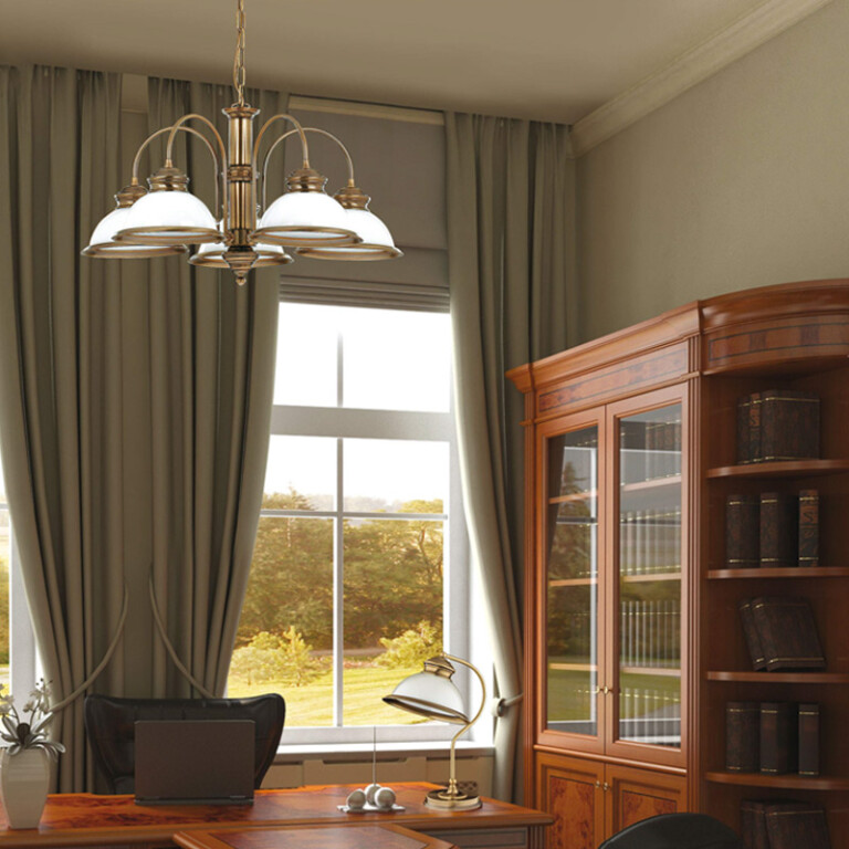 home office with Brass desk lamp LIDO with white glass lamp shade