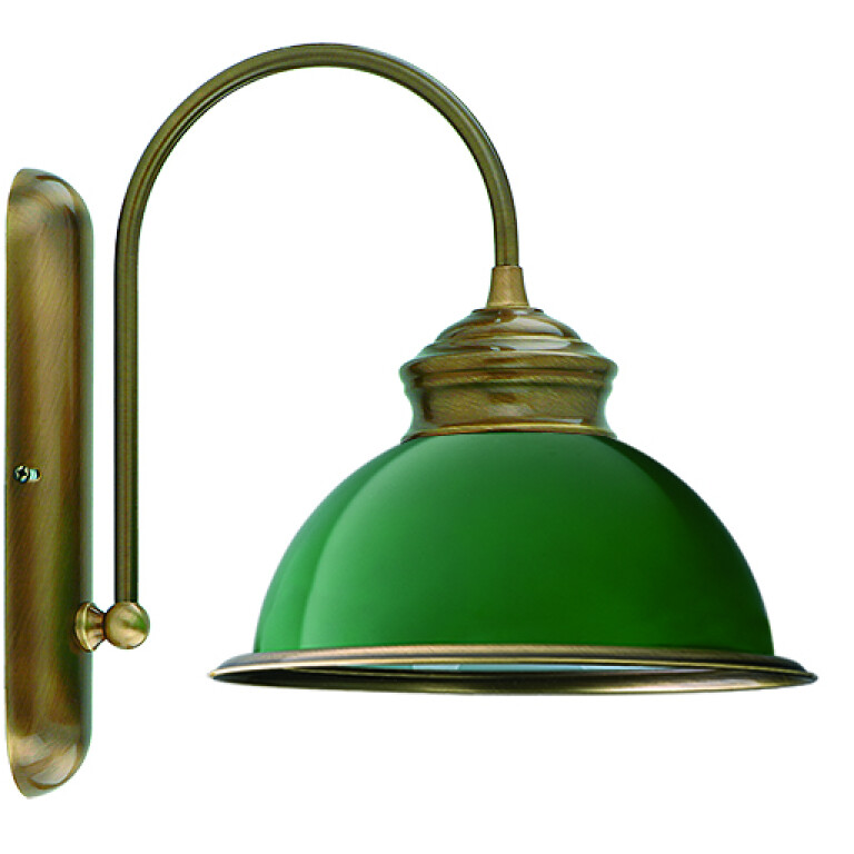 Lido Brass Wall Light Classic Design Wall Sconce Light Fitting Green Glass Shade