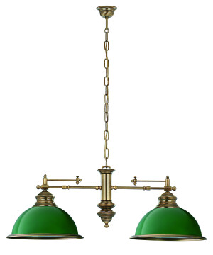 Lido Brass Small Pool Table and Snooker Lighting Lido Bar Ceiling Pendant 2 Light Green Billiard Lamp Glass Shade