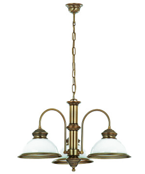 Lido Brass Classic Chandelier 3 Arms Glass Shade