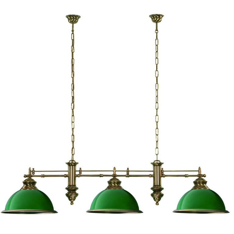 Lido Brass Pool Table and Snooker Lighting Lido Bar Ceiling Pendant 4 Light Green Billiard Lamp Glass Shade