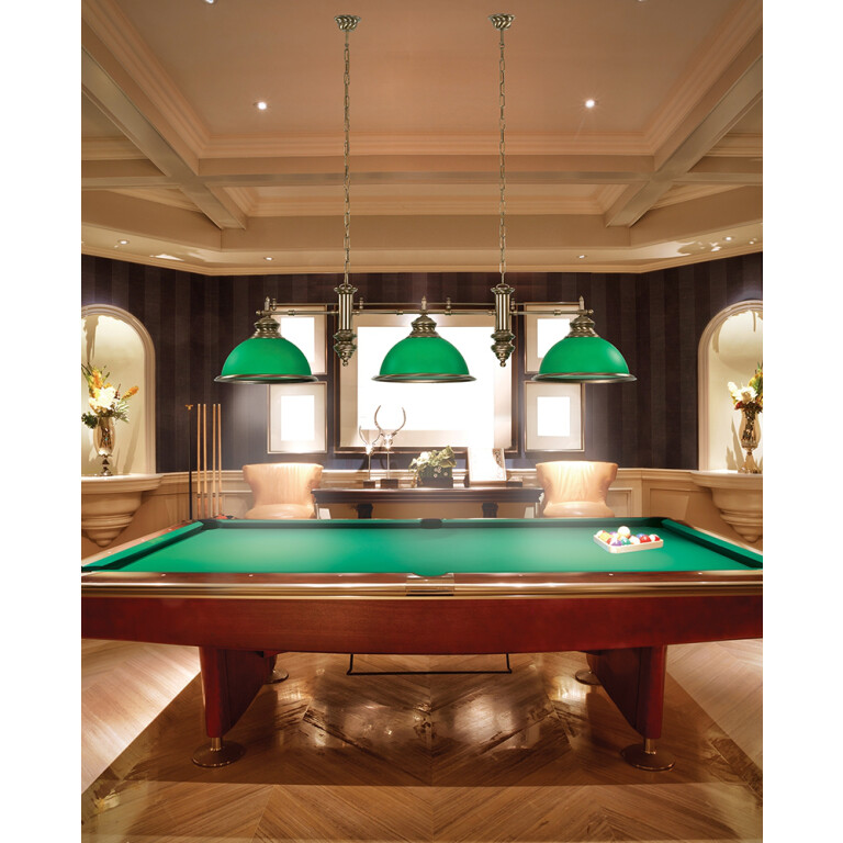 Brass Pool Table and Snooker Lighting Lido Bar Ceiling Pendant 4 Light Green Billiard Lamp Glass Shade INspiration