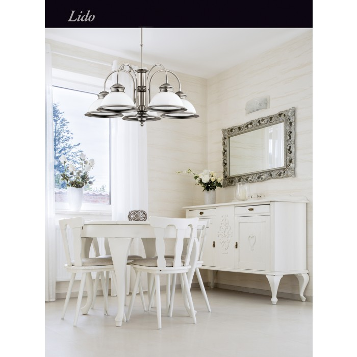 Brass Classic Chandelier 5 Arms LIDO White Glass Shade Pendant Light Inspiration