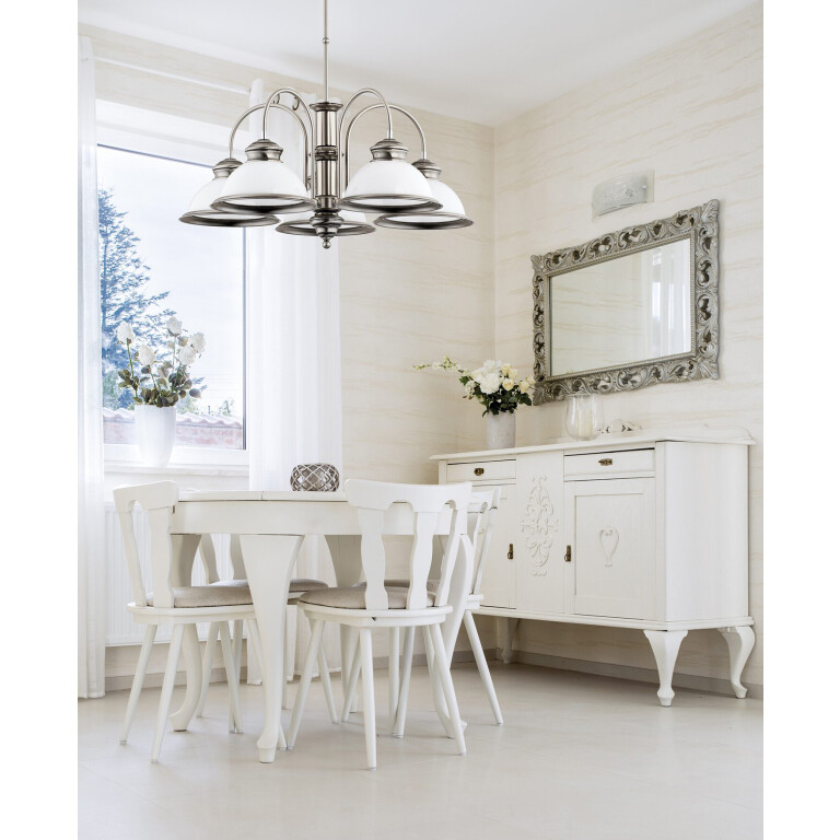 dining room ideas with brass pendant light LIDO in brushed nickel