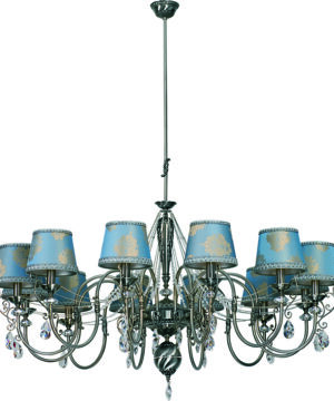 Luca Candle-Style Brass Large Luxury Chandelier 12 Arms Classic Light Swarovski Crystals Fabric Shade