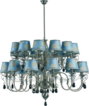Luca Candle-Style Brass Large Luxury Chandelier 24 Arms Classic Light Swarovski Crystals Fabric Shade Double Tier