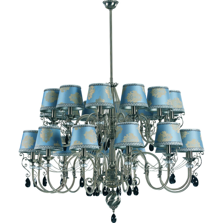 extra large chandelier LUCA double tier 24 light with crystals and pattern shades