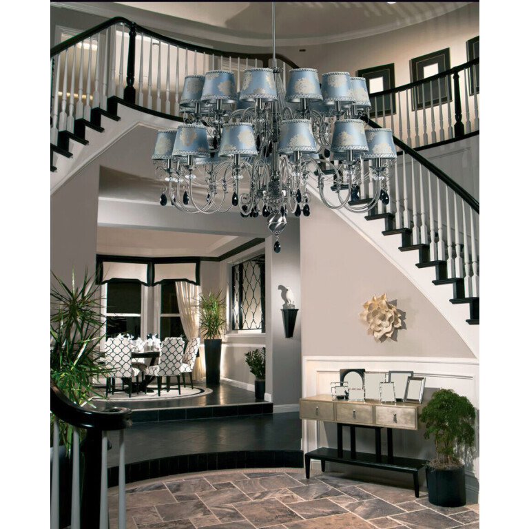 hallway ideas with extra large chandelier LUCA 24 light double tier