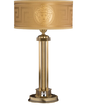 Brass Luxury Table Lamp Decor Fabric Versace Shade with Swarovski Crystals-0