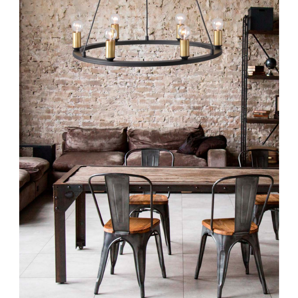 Rustic Chandelier 6 Lights Ceiling Pendant Light ASTI