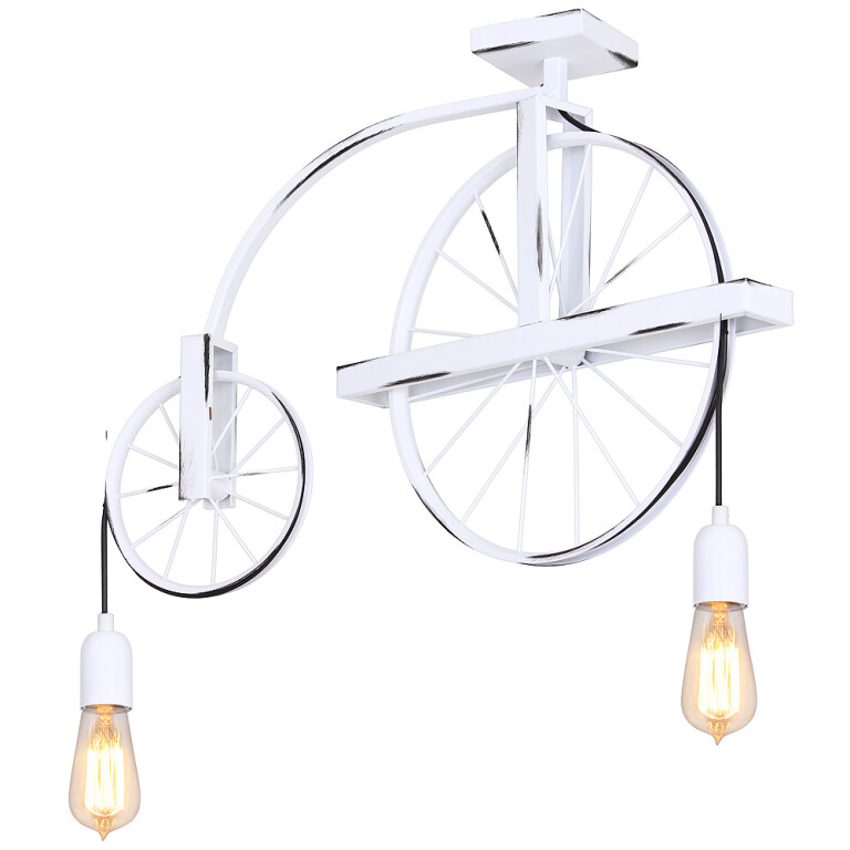 Vintage style Pendant 2 Lights BANG MIN white Wheel in modern Industrial Design