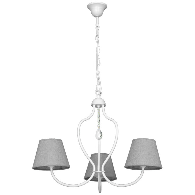 Etna Candle-style Chandelier 3 Arms WHITE Glamor Fabric Shade