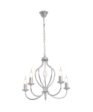 Etna Candle-style Chandelier 5 Arms Chrome Glamor