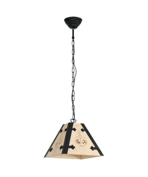 Rustic kitchen island single Pendant Light BARA with natural wood Scandinavian lamp