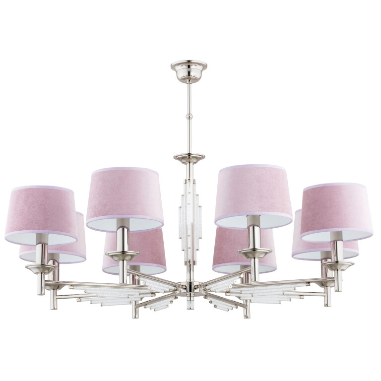 Modern luxury chandeliers FELLINO 8 light in nickel with crystals and pink shades