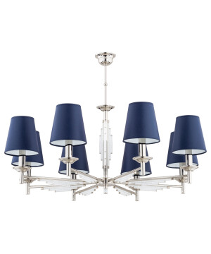 Luxury chandeliers FELLINO 8 light in nickel with crystals, blue lamp shades