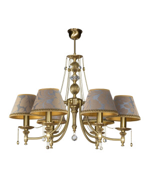 6 light brass chandelier NICO in brushed brass with shades
