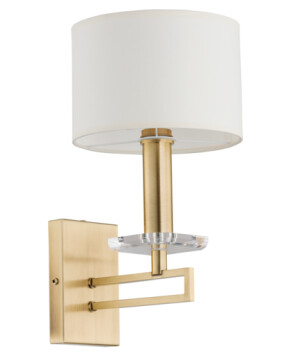 Amira Brass Wall Sconce Light Fixture White Fabric Lamp Shade Patina Coated Wall Light