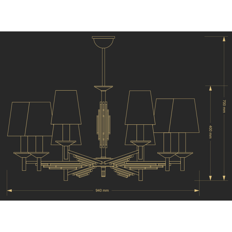 Luxury chandeliers 8 Arms FELLINO with nickel finishes and Swarovski crystals - drawing