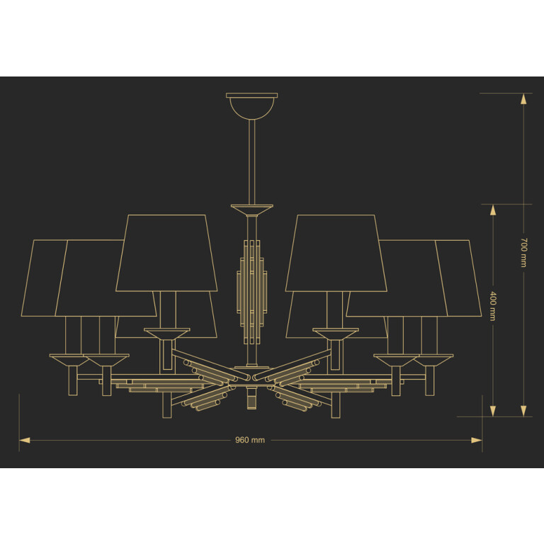 Modern luxury chandeliers 8 Arms FELLINO nickel finishes, Swarovski crystals drawing