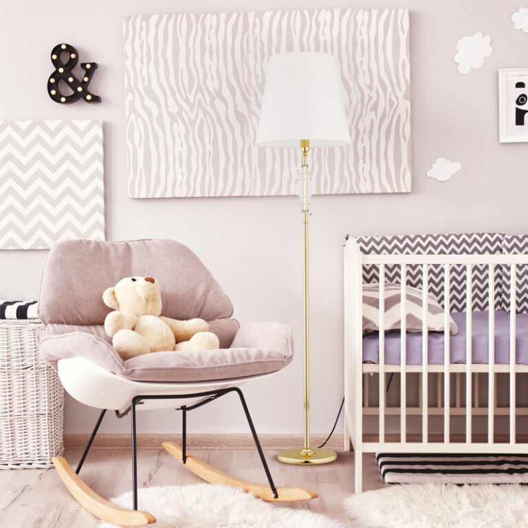 children's room idea with gold floor lamp FELLINO white lamp shade, Swarovski crystals